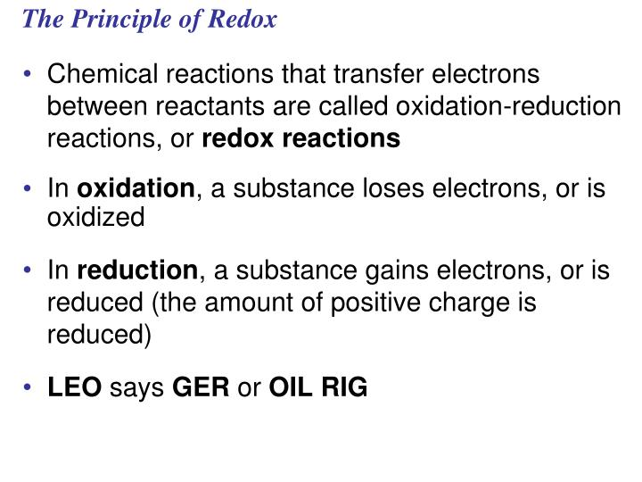 The Principle of Redox