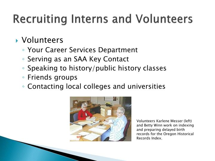 Recruiting Interns and Volunteers