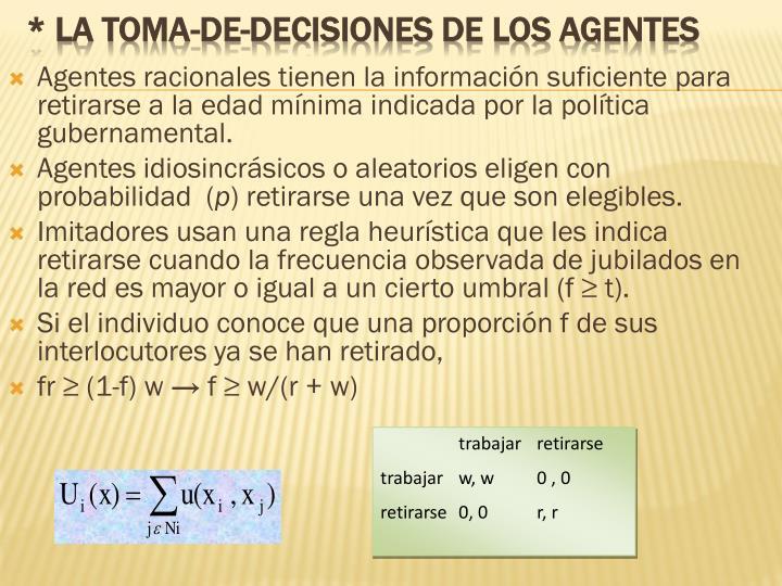 Agentes racionales tienen la información suficiente para retirarse a la edad mínima indicada por la política gubernamental.