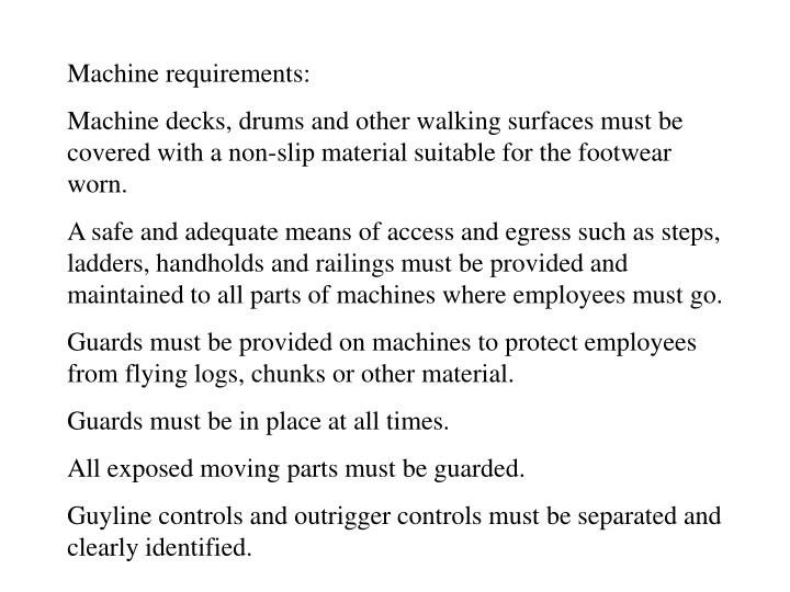 Machine requirements: