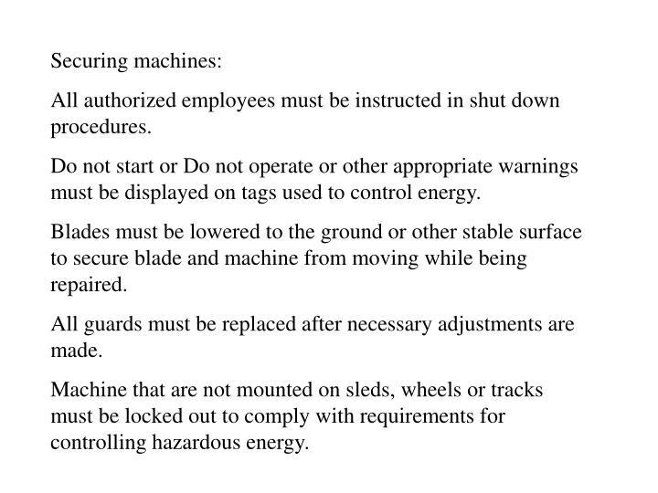 Securing machines: