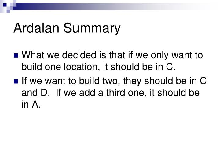 Ardalan Summary