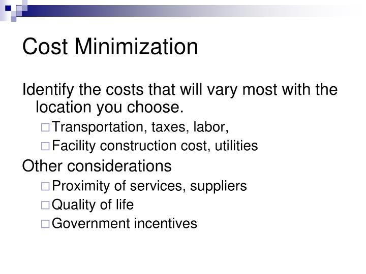 Cost Minimization