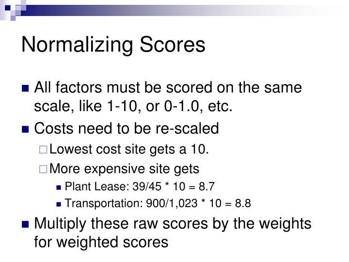 Normalizing Scores