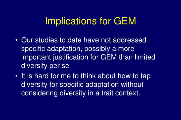 Implications for GEM