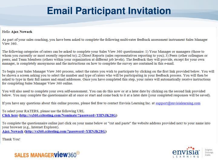 Email Participant Invitation