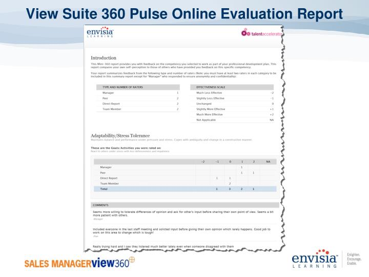 View Suite 360 Pulse Online Evaluation Report