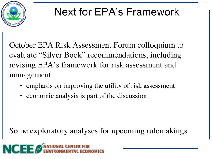Next for EPA's Framework