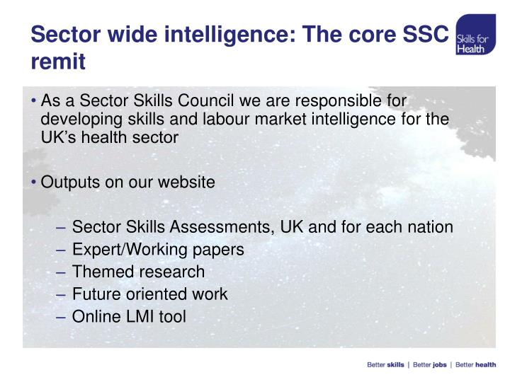 Sector wide intelligence the core ssc remit