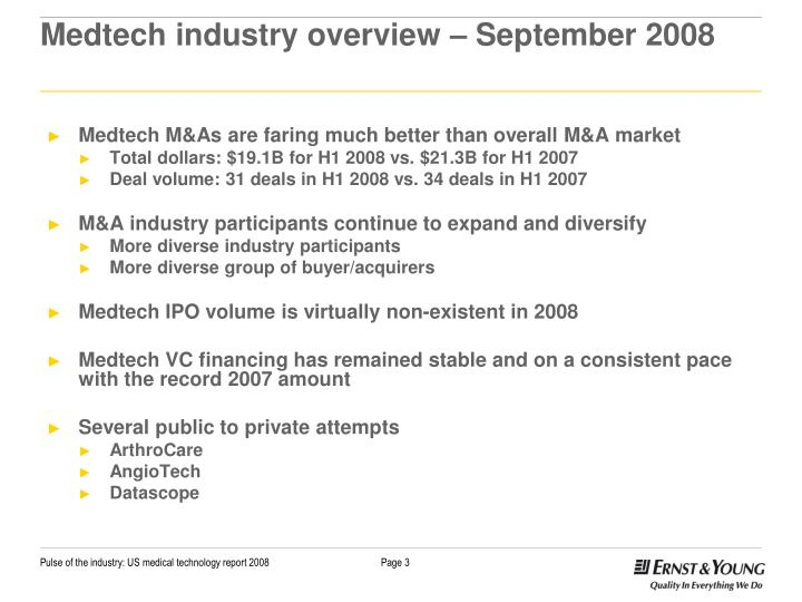 Medtech industry overview september 2008