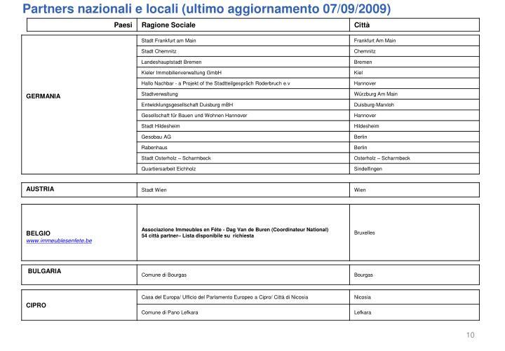 Partners nazionali e locali (ultimo aggiornamento 07/09/2009)