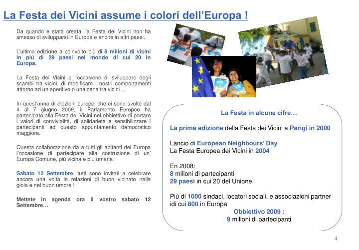 La Festa dei Vicini assume i colori dell'Europa!