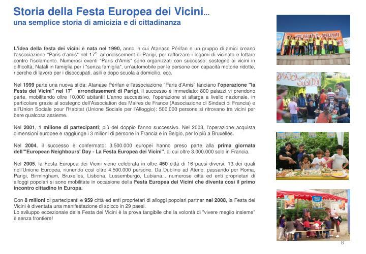 Storia della Festa Europea dei Vicini