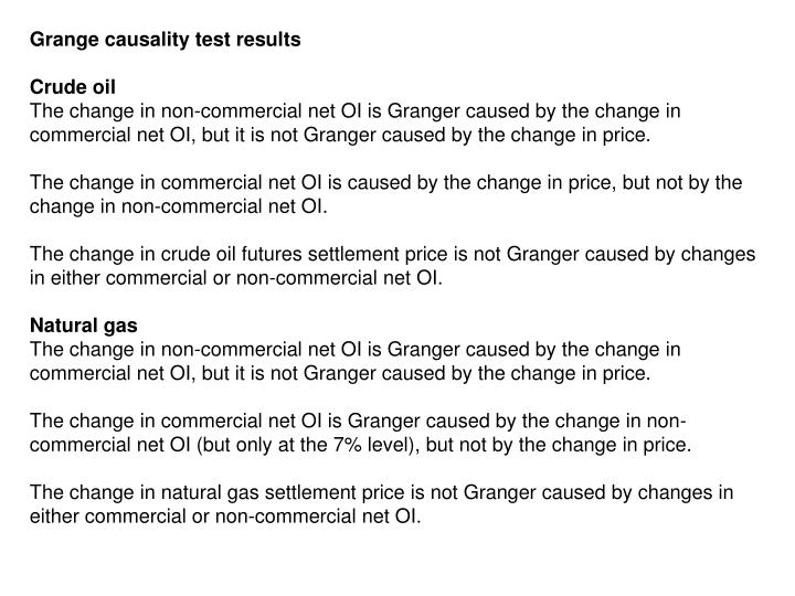 Grange causality test results