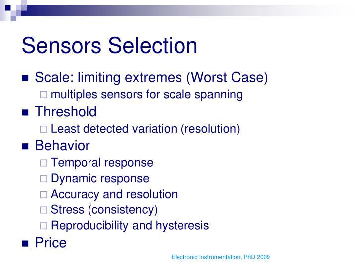Sensors Selection