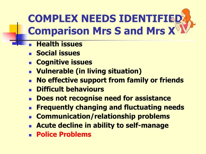 COMPLEX NEEDS IDENTIFIED
