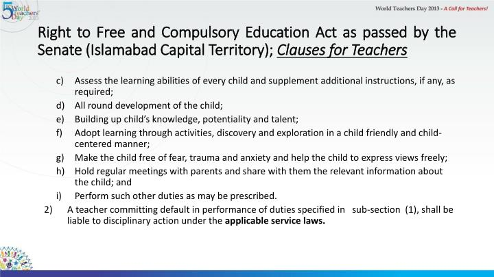 Right to Free and Compulsory Education Act as passed by the Senate (Islamabad Capital Territory);