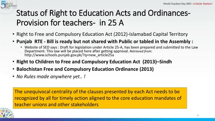 Status of Right to Education Acts and Ordinances- Provision for teachers-  in 25 A
