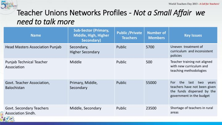 Teacher Unions Networks Profiles -