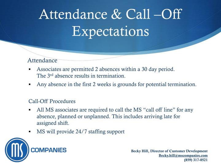 Attendance & Call –Off Expectations