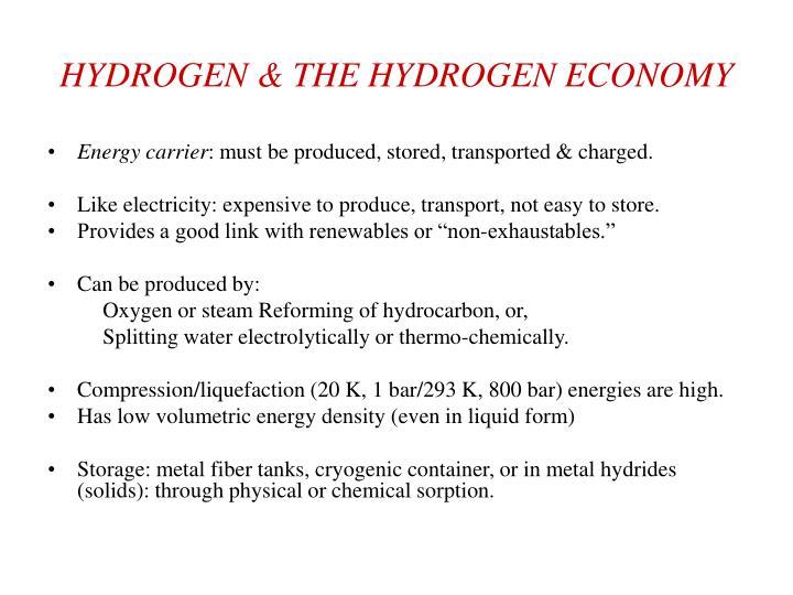 HYDROGEN & THE HYDROGEN ECONOMY