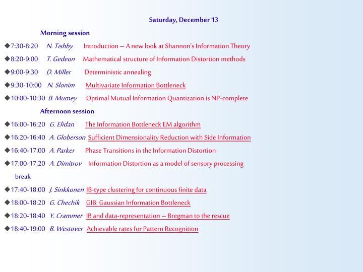 Saturday, December 13