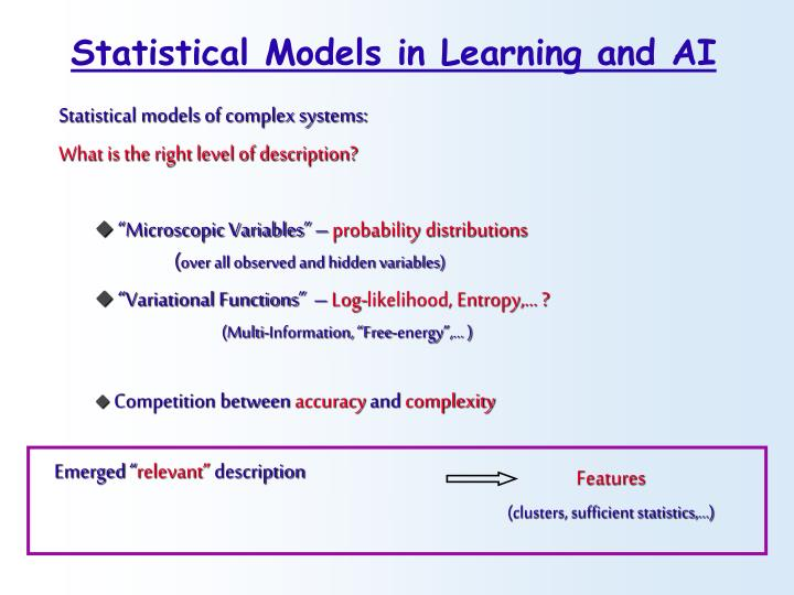 Statistical Models in Learning and AI