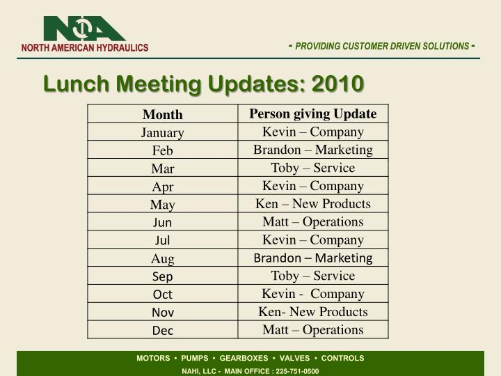 Lunch Meeting Updates: 2010