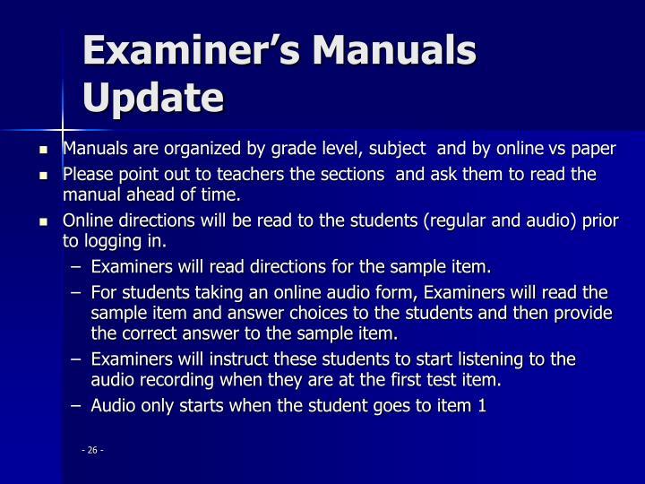 Examiner's Manuals Update