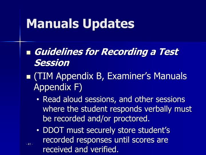 Manuals Updates