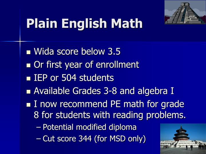 Plain English Math