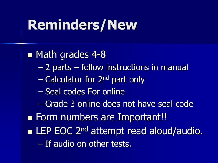 Reminders/New