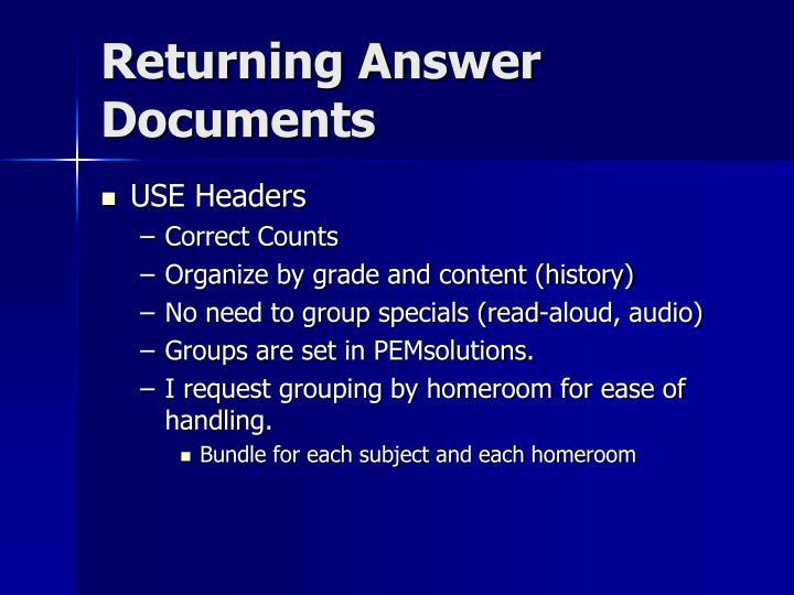 Returning Answer Documents