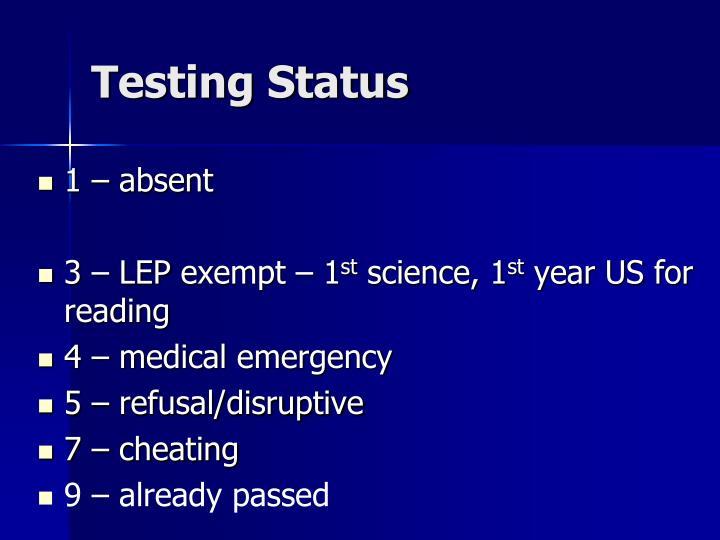 Testing Status