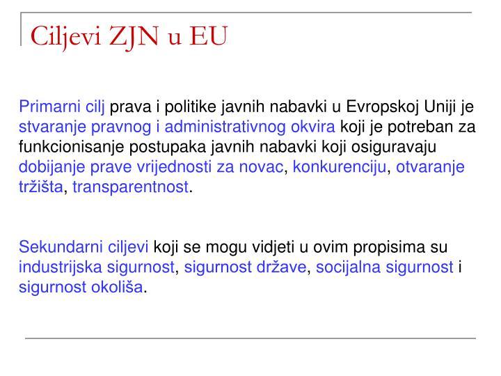 Ciljevi ZJN u EU