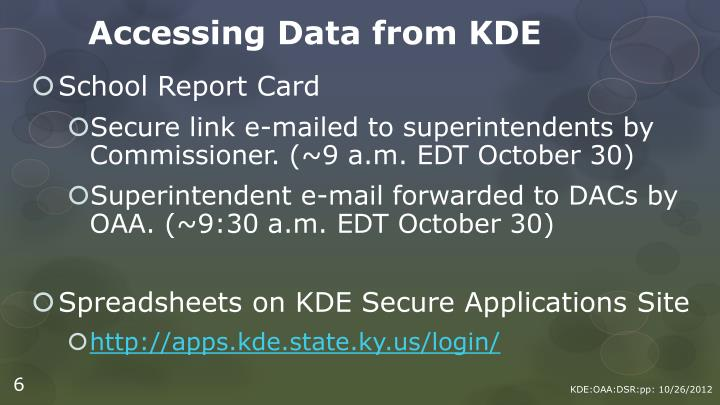Accessing Data from KDE
