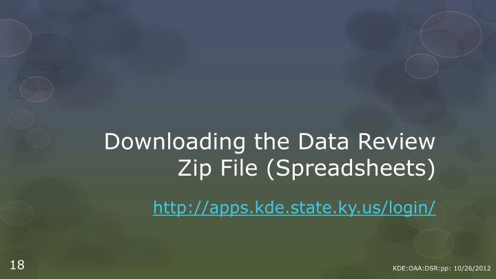 Downloading the Data Review
