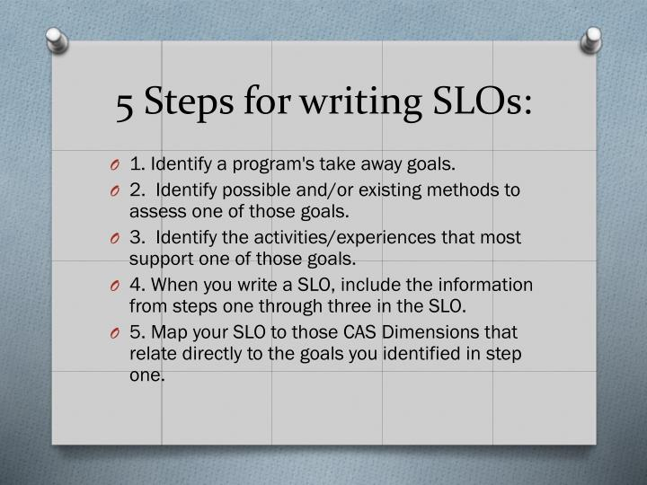 5 Steps for writing SLOs: