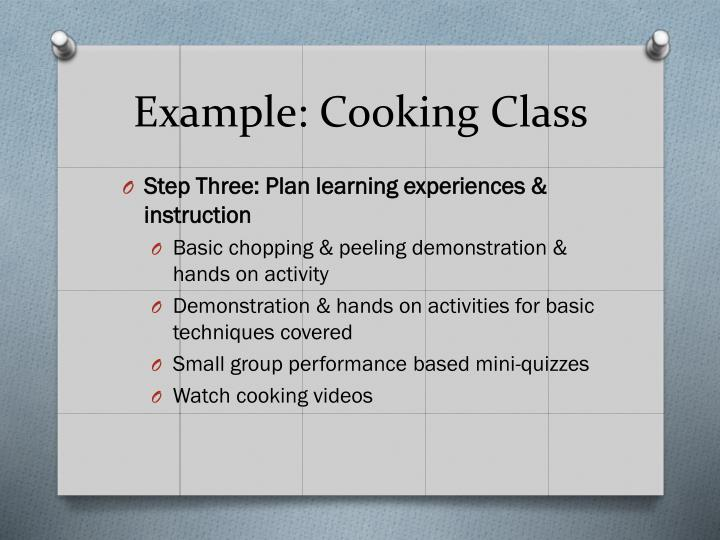 Example: Cooking Class