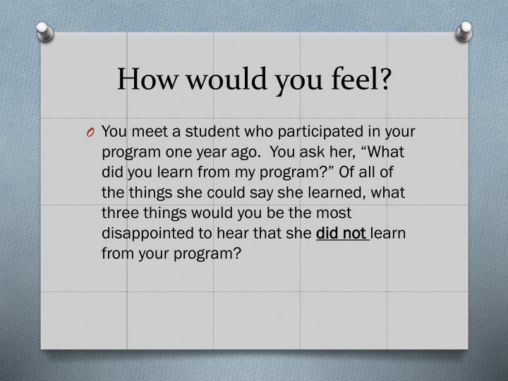 How would you feel?