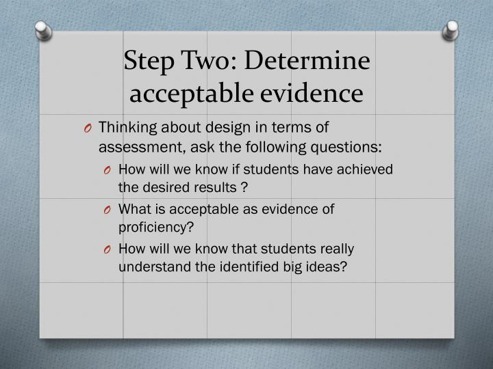 Step Two: Determine acceptable evidence