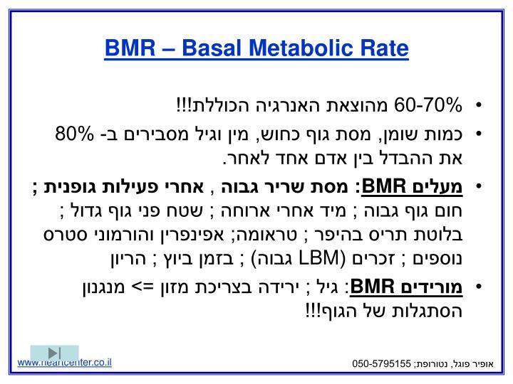 BMR – Basal Metabolic Rate