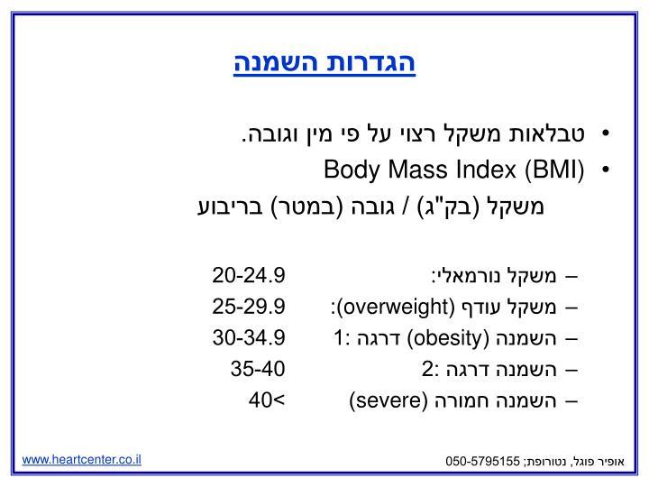 הגדרות השמנה