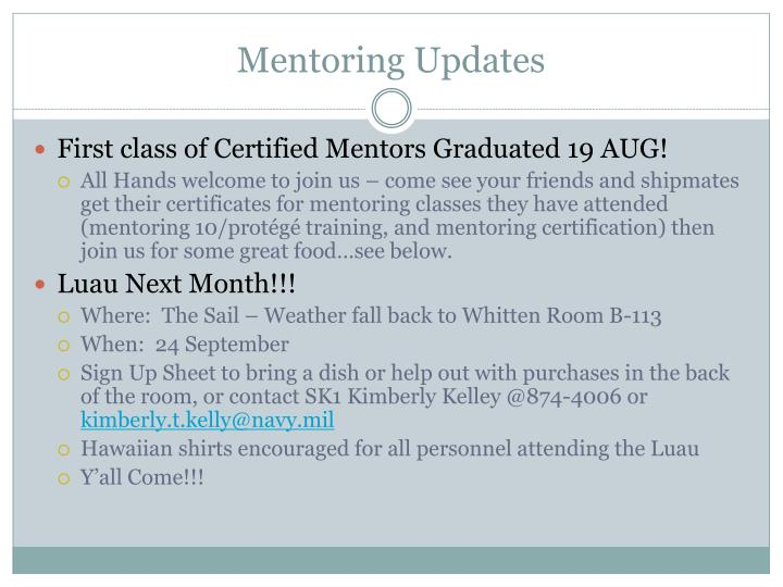 Mentoring Updates