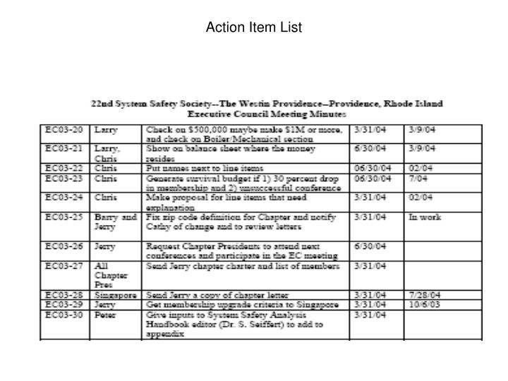 Action item list1