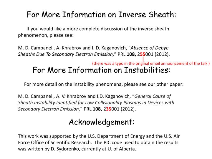 For More Information on Inverse Sheath: