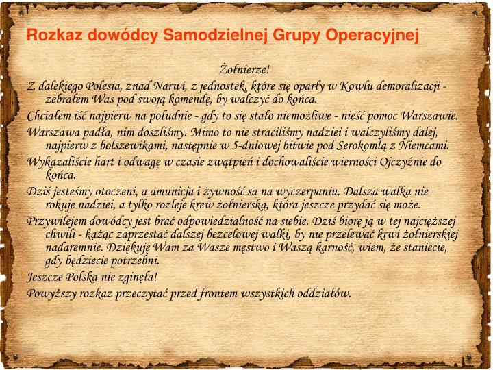 Rozkaz dowódcy Samodzielnej Grupy Operacyjnej