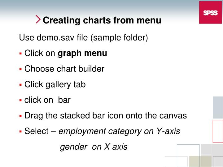 Creating charts from menu