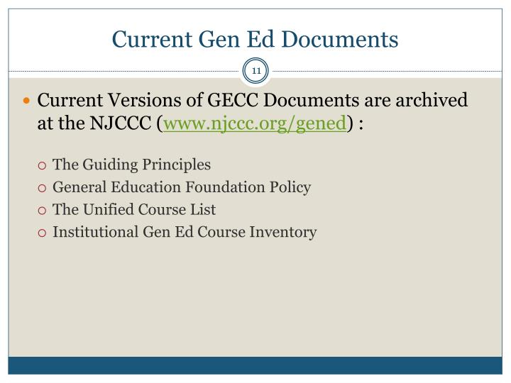 Current Gen Ed Documents