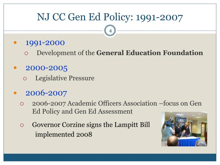 NJ CC Gen Ed Policy: 1991-2007